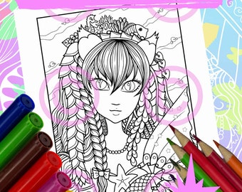 Anime Doodle Girl Coloring Page for Adult Coloring Kitty Mermaid in Tangle style