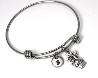 French fry charm bangle, Stainless Steel bangle, fries charm bracelet, food bracelet, food bangle, friend bracelet, sister bracelet