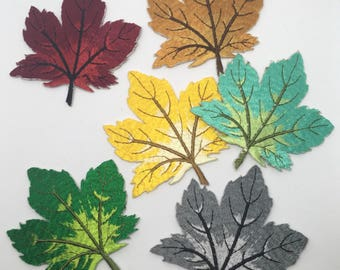 6x Autumn Leaves - Sew on Appliqué Patch