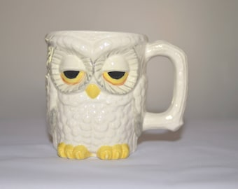 White and Grey Owl Mug , Owl Coffee Mug, Vintage Owl Mug