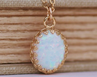 Genuine White Opal Necklace,Gold Crown Edge Setting Opal Pendant,14K Gold Filled,Gemstone Necklace,Dainty,October Birthstone,Lab Created