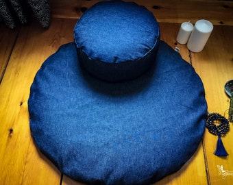 Meditation sit set Zafu Zabuton combo - Denim - Jeans cushion mat both WASHABLE cotton organic Buckwheat pillow by Creations Mariposa