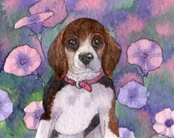 Beagle hound dog 8x10 print - petunia flowers