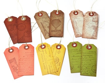 Set of 12 Vintage style travel gift tags with string
