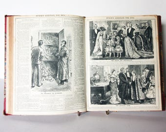 Punch Antique Political Cartoons 1878-79  Extensive year in political illustrations Satire Vintage book