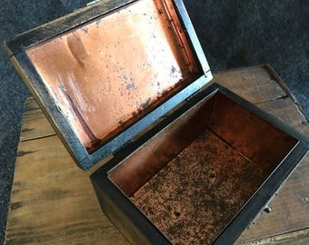 Vintage copper-lined wood recipe box