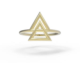 Double Triangles Ring - Geometric Ring - Silver ring - Gold ring