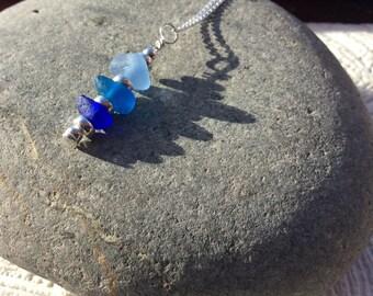 Sea glass stack sterling silver necklace - Trio of blue pendant - Seaham sea glass jewellery - English sea glass