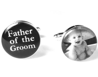 Father of the Groom Photo Cufflinks, Custom Photo, Personalized, Wedding Gift, Silver Cufflinks, Gift for Dad, Wedding Party Cufflinks