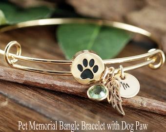Gold Personalized Pet Memorial Bracelet, Angel Wing Bracelet, Dog Paw Bangle Bracelet, Pet Loss Gift, Pet Memorial Gift, Memorial Bracelet