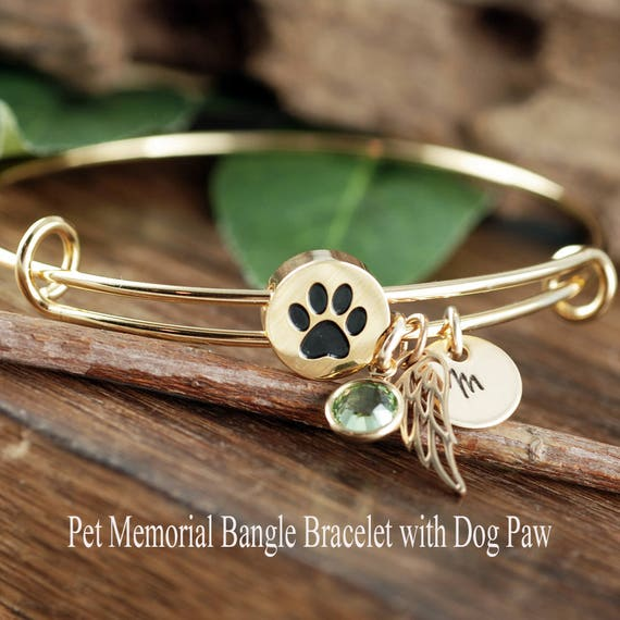 memorial paw print lover personalized christmas gift bangle gifts dog bracelet name pet