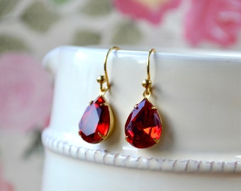 Large Red Teardrop Earrings, Swarovski Crystal Pear Drop Earrings, Gold Vermeil Hooks, Vintage Glass Jewellery, Prom Gift, For Women