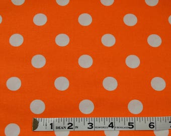 Item 290, 100% Cotton, Orange and White Polka Dot, By the Yard