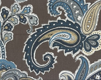 Large paisley Shower curtain. Brown off white shades of blue gray tan Fabric shower curtain. long shower curtain Extra wide shower curtain