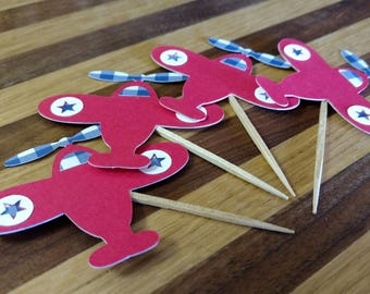 Red & Gingham Blue Airplane Cupcake Toppers, airplane toppers, plane toppers, airplane party, red plane toppers, airplane theme, plane theme