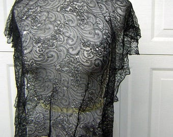 Victorian Edwardian Black Sheer Lace TABARD Bodice Overlay Piece TLC Study or Costume
