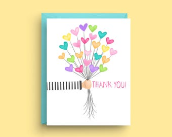 Balloon Thank You Cards, Balloon Note Cards, Balloon Stationery, Correspondence Card, Thank You Card, Stationery Set, Birthday Thank You