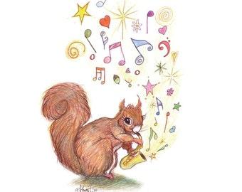 Watercolour Pencil Drawing Saxophone Squirrel - Animal Art - Nursery Wall Print – New Baby Gift – Music Lover Print – Cute -Whimsical Art
