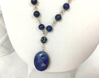 Long Blue Lapis Necklace, Lapis Lazuli Gemstone Necklace, Blue Gemstone Pendant necklace