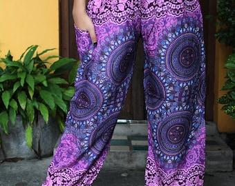 Hippie Boho Pants Women Bohemian Clothing Yoga Wear Flowers Pink One Size