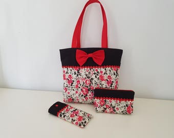 Matching cotton tote bag with its case and glasses case