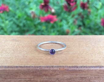 Amethyst Stacking Ring / Sterling Silver Ring / February Birthstone / Dainty Amethyst Stacking Ring / Amethyst Jewelry / Amethyst Jewellery