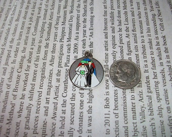 Bride and Groom Charm  Painted on Silver    Vintage 1960 1970           Free Shipping in the USA