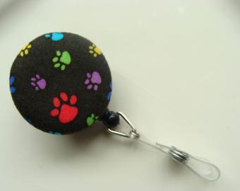 Retractable Badge Reel - Tiny Paw Prints on Black