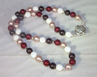 Swarovski Pearl Jewelry  - Bride, Bridesmaid, Maid of Honor - Swarovski Ivory, Dark Brown, Maroon, Light Gold