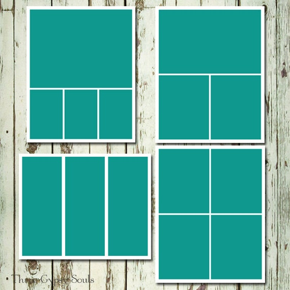 8 x 10 photo collage templates  8x10 Storyboard Collage Templates Layered PSD Group of 4 Collage ...