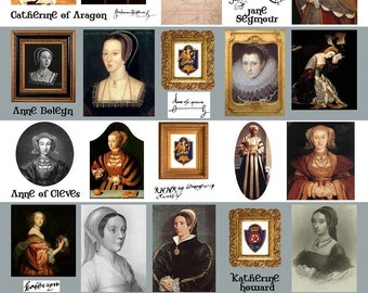 Queens of Henry VIII Collage Sheet - Anne Boleyn and the Others - Digital Download - Printable - Instant Download