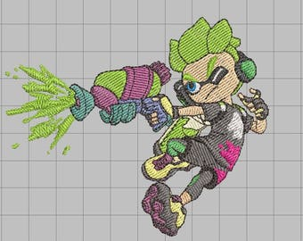 Splatoon Kid Machine Embroidery Design 4x4