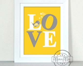 LOVE Yellow Gray Grey Nursery Quote for Nursery or Kids Room, Nursery Print Baby Nursery Decor