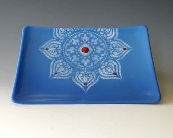 Mandala Fused Glass Dish Handcrafted Plate Trinket Blue White Red 22K Gold