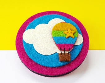 Hot Air Balloon Brooch - Hot Air Balloon Pin - Felt Brooch - Rainbow Balloon Pin with Fly High Button Badge