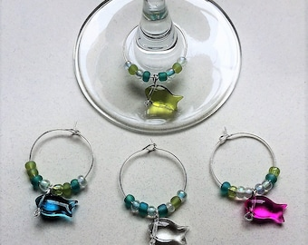 Glass Fish Wine Charms