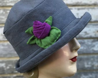 Flapper Canvas Cloche- Hand Dyed- Franny
