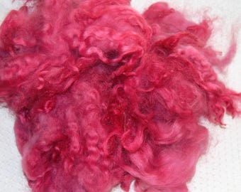 Karakul Sheep Wool Locks for Spinning Felting and Doll Hair, Doll Wig, Troll Hair, Hand Dyed shades of Raspberry Pink 1 oz.