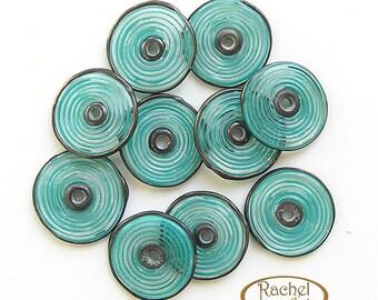 Lampwork Glass Disc Beads, FREE SHIPPING, Handmade Spiral Glass Teal Disc Beads - Rachelcartglass