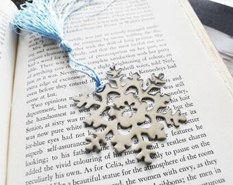 Custom Stamped Snowflake Bookmark- Snowflake Metal Gift Page Marker - Winter Gift Stamped Aluminum Metal Bookmark