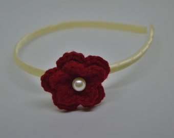 Crochet Double Layer Flower Headband with an Ivory Pearl - Red Flower on an Ivory Satin Wrapped Headband