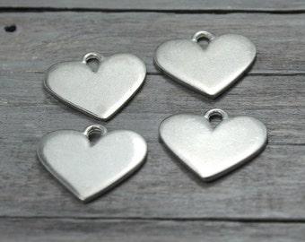 Pewter Heart Blanks, 4 Pack, Pewter Stamping Blank, Heart Blank, Metal Stamping Blanks, Pewter Shapes, Metal Blank, Stamping Supplies