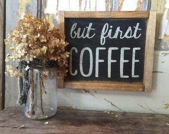 coffee sign // framed sign // framed coffee sign // rustic coffee sign