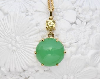 Chrysoprase and Yellow Sapphire Pendant in 18k Gold, Ethical and Fair Trade