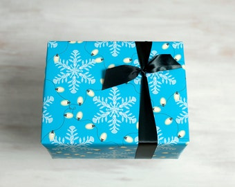Blue Recycled Gift Wrap, Beach Wrapping Paper, Eco-Friendly Christmas Hanukkah Winter Packaging, Seaside Holiday, Snowflake, Made in the USA