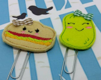 Bookmark - Sandwich and Pickle Bookmarks - Hamburger and  Pickles Paper Clip -  Picnic Planner Journal Clip - Page Marker - Set of 1