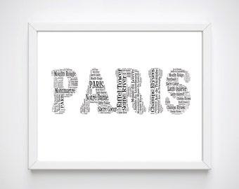 Paris Wall Art, Paris Printable Wall Art, Paris Art Prints, Typography Paris Prints, Paris Word Art, Home Decor, French Wall Art,