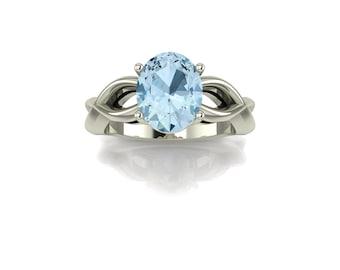 14K White Gold  Ring With Natural Blue Topaz Gemstone    K-RG1026