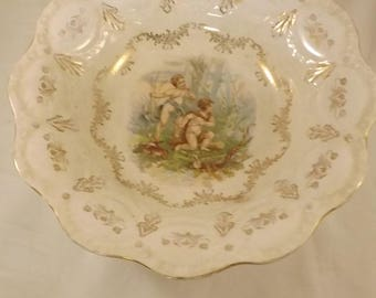 Beautiful 1940's Gold Medal Owen Menerva Serving Bowl with Cherub's in Forest