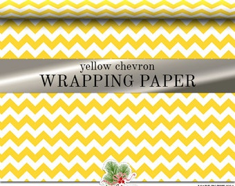 Yellow Chevron Custom Premium Wrapping Paper | Yellow Zig Zag Gift Wrap In Two Sizes Great For Any Occasion. Made In The USA